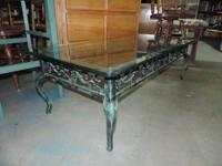 "Coffee Table with Metal Base and.5"" Thick Glass Top -"
