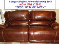 Cognac Leather Dual Electric Power Reclining
