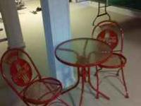 Authenic metal Coke Cola Table, Chairs and Bakers rack