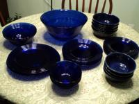 "Colbalt blue dish set consists of: Bowls: (1) 14""x 3"""