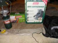 For sale Coleman camping equipment, lantern, air pump,