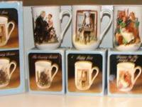 COLLECTOR'S MUG SET BY NORMAN ROCKWELL TRIMMED IN PURE