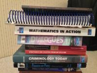 Various college level law, writing and math books for