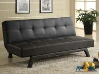 Collin Adjustable Sofa features tufted seat and back in