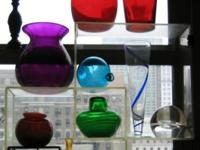 COLOR GLASS VASES: Individually as indicated or all