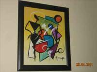 (2) Large Colorful/Jazzy Artwork in Black Frames Asking