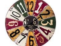 Colorful Primitive/Folk Art Wall Clock. Electric