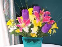 Colorful Spring Floral Arrangement Base of arrangement