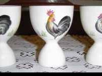Colorful Rooster or Chicken Egg Cups Set of 3 Vintage