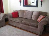 Sofa and loveseat, tan, chenille couches. Some tearing