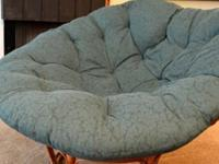 Lived-in, but comfortable papasan chair with a free