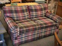 Comfortable Plaid Love Seat --- $225  Get there 1st and