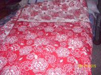 Queen/Full reversible comforter, marching sold red