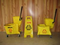 commercial side press mop buckets and 1 floor safety