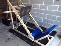 Industrial leg press 45 degree sled. Leg press is in