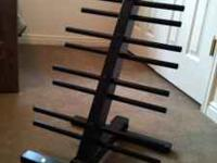 This dumbbell rack holds up to 10 pair of vinyl or