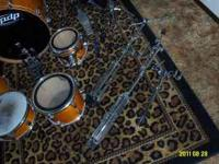 Pacific 5 piece amber LX series drum set,