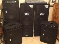 "Overall PA package. Peavey twin 15"" powered mains, 4 SA"