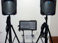 2 mackie c300z speakers, 2 on stage speaker stands,