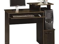 This desk has 2 drawers on one side and a cabinet door