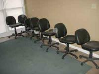 7 Black Rolling Chairs- Used Would like to be sold