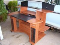COMPUTER DESK & BLACK SWIVEL OFFICE CHAIR _ DESK IS $