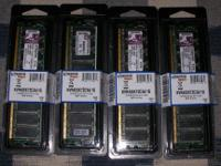Qty 4 Kingston 1GB DDR400 PC3200 184-pin ECC DIMM, PN: