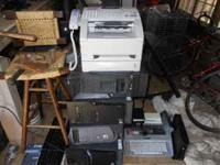 This a lot of misc computer stuff with a fax machine