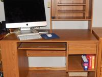Composite wood desk 48W x 52H x 24D with hutch,