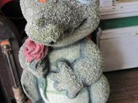 Concrete Alligator stands about 15'', and Hedgehog $20