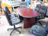 Conference Table and 6 Chairs. Chairs are the leather