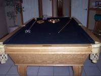 solid oak 8' pool table - like new, hardly been used