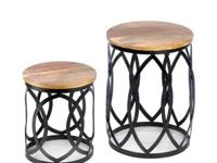 These accent tables are standouts with their bands of