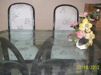 "Contemporary dining set includes 5/8"" beveled glass"