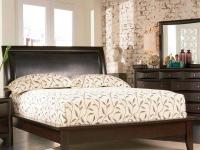 High quality solid wood queen Cappuccino platform bed