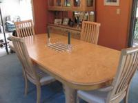 Contemporary dining table with 4 chairs and china