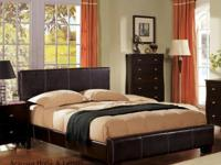 Queen bicast leather bed (headboard, footboard, rails)