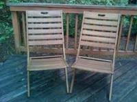 Solid wood deck chairs. Contemporary style. $20 each -