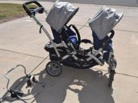 Contours tandem stroller in blue with 2 seat