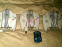 3 original Sega Dreamcast controllers and VMU I no
