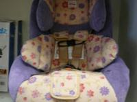 Britax Boulevard car seat for a girl. Tan and Purple