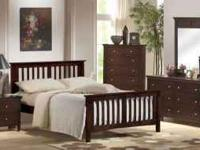 Quality wood platform bed in cappuccino finish. Durable