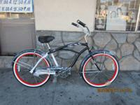 Cool Matt Black Men's Beach Cruiser Bicycle Size 26