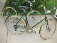 2 Original 1970's Schwinn Bicycles Bright Green! >>>>