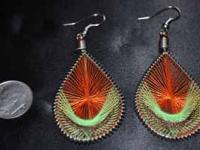 finely woven string dream-catcher like Hook earrings