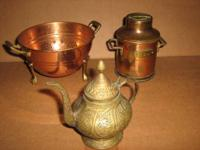 Various Copper Brass Decor Collectable's Tea Pots