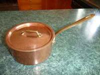 1.5 quart copper sauce pan and lid. Selling for $95
