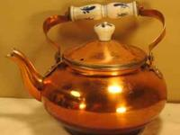 THIS IS AN OLD RETRO VINTAGE COPPER PLATE METAL TEAPOT.