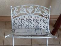 White Metal painted Coral Reef looking Magazine Rack