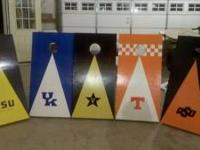 Custom regulation corn hole games. Set includes two